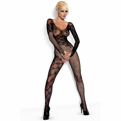 Lingerie Sexy Femme Combinaison Bodystocking F210 Noir Taille XL/XXL - OBSESSIVE