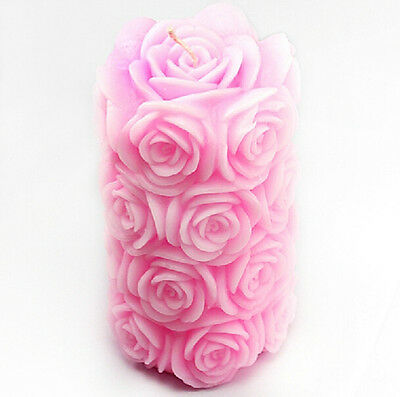 Big Rose Cylinder Candle Mold Flexible Cake Deco Craft Fimo Candle Silicone Mold