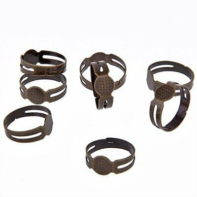"""10 Bronze Round GLUE ON Adjustable RING Pad Blank 0.31"""" HOT PK Valentines Gifts"""