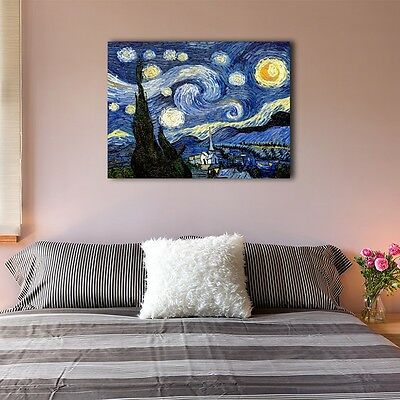 Van Gogh Starry Night Stretched Canvas Print Framed Wall Art Home Decor Painting
