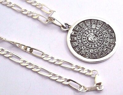 """Taxco Mexico 925 Sterling Silver Mayan Calendar Pendant Top & 20"""" Chain"""