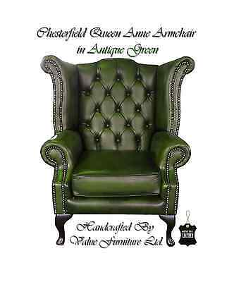 Chesterfield Traditional London Queen Anne High Back Armchair Antique Green UK