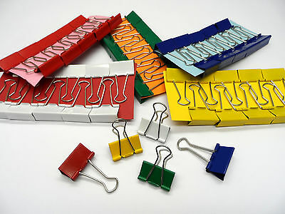 32mm Foldback Bulldog Binder Clips Single Coloured and Assorted Packs x10