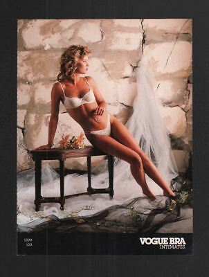 1980s Magazine 8.5x11 Print Ad~Vogue Bra Intimates~Lingerie~Blonde~Sexy~A260