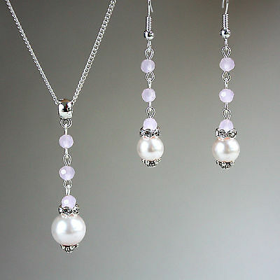 Blush pink crystals pearls necklace earrings wedding bridesmaid gift silver set
