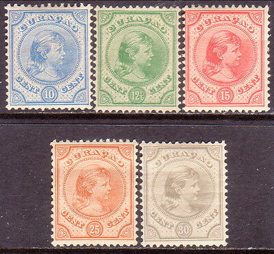 1892 CURACAO Yv 19-23 compl.set MLH