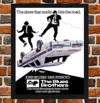 Framed The Blues Brothers Movie Poster A4/A3 Size Mounted In Black/White Frame.