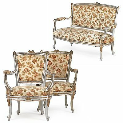 French Louis XV Style Vintage Parlor Suite w/ Settee Sofa and Two Arm Chairs