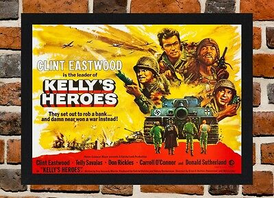 Framed Kelly's Heroes Movie Poster A4 / A3 Size In Black / White Frame.