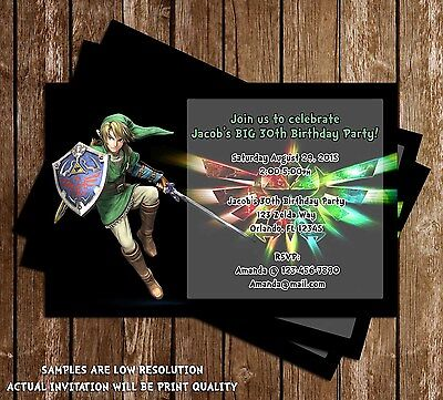 Legend of Zelda Birthday Party Invitation - 15 Printed W/envelopes