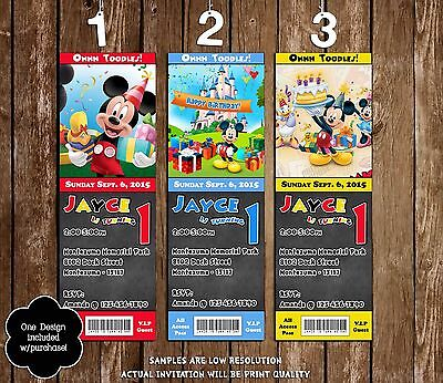 Mickey Mouse Chalkboard Birthday Ticket Invitations - 20 Printed W/envelopes