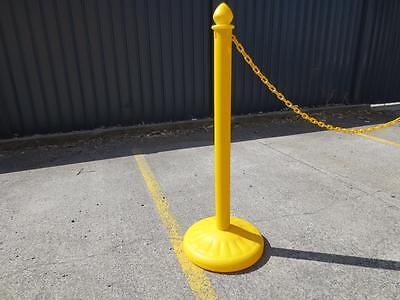 Yellow plastic crowd control barriers / posts / bollards - sold in units of one