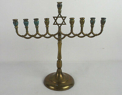 """Solid Metal Brass Menorah with Star of David 11"""" Marked R.C. on Base"""
