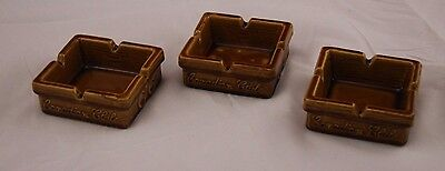 Lot of 3 Vintage Canadian Club Brown Square Ceramic Ashtray Retro Collectible