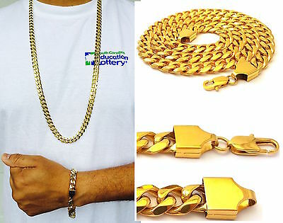 "14K YELLOW GOLD FINISH 10mm STAINLESS STEEL MIAMI CUBAN LINK CHAIN 24"", 30"",36''"