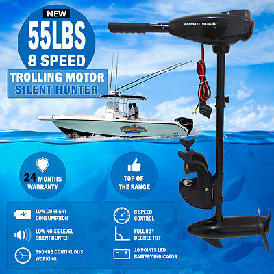 NEW 55LBS 8 Speed Trolling Motor Electric Inflatable Boat Marine Engine Fishing