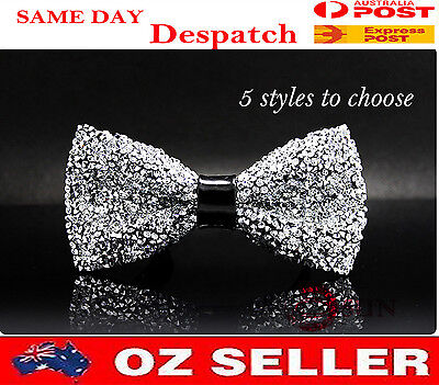 Mens PVC Faux Leather Crystal looks Shining Bow Tie Bowties Wedding Party Ball