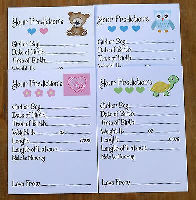 Baby Shower Games - Prediction Cards - Teddy - Elephant - Owls - Turtle