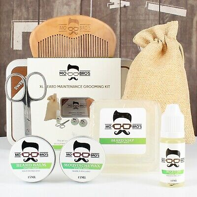 Mo Bro's XL Sweet Mint Grooming Kit Beard Oil, Balm, Wax, Soap, Comb, Scissors