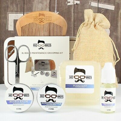 Mo Bro's XL Summer Spice Grooming Kit Beard Oil, Balm, Wax, Soap, Comb,Scissors