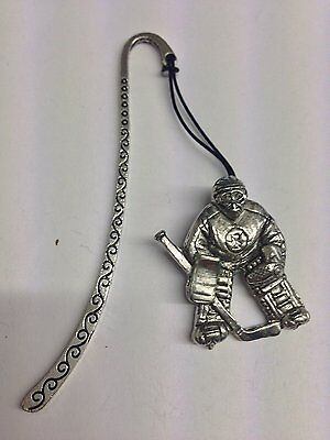 Ice Hockey Net Minder PP-SP12 Pattern bookmark with cord 3D English pewter charm