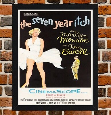 Framed The Seven Year Itch Movie Poster A4 / A3 Size In Black / White Frame.