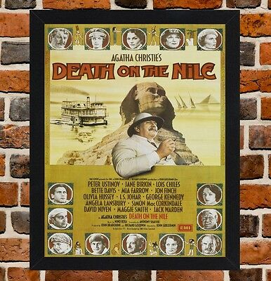 Framed Death On The Nile Movie Poster A4 / A3 Size In Black / White Frame