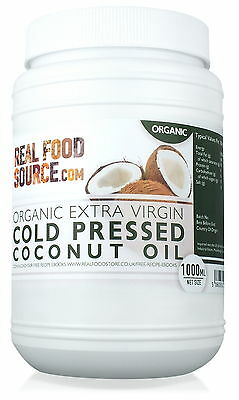RealFoodSource Organic Extra Virgin Cold Pressed Coconut Oil 1 Litre/~920g