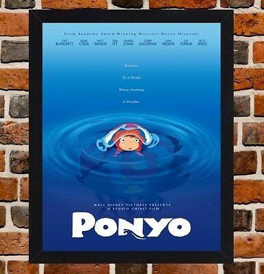Framed Ponyo Movie Poster A4 / A3 Size In Black / White Frame