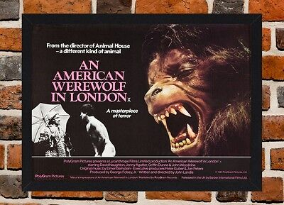 Framed An American Werewolf In London Movie Poster A4 / A3 Size In Black Frame.