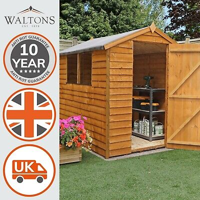 8x6 Overlap Wooden Garden Storage Shed Single Door Window Apex Roof 8Ft 6Ft