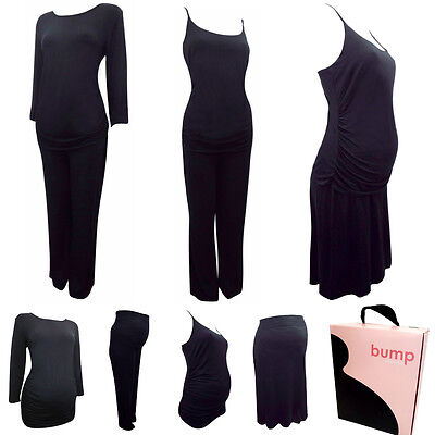 Maternity Black Jersey 3 or 4 Piece Set Skirt Cami Top Trousers Size 14-16