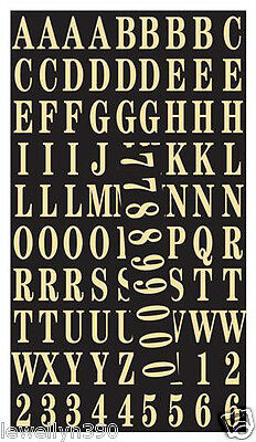 """Hy-Ko Self-Adhesive 99 LETTERS & NUMBERS Gold on Black 1""""  MM-2"""