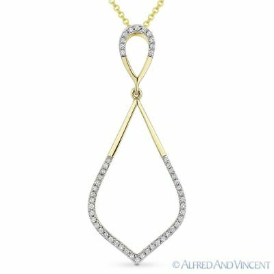 0.13ct Round Cut Diamond Pave 14k Yellow Gold Marquise Pendant & Chain Necklace
