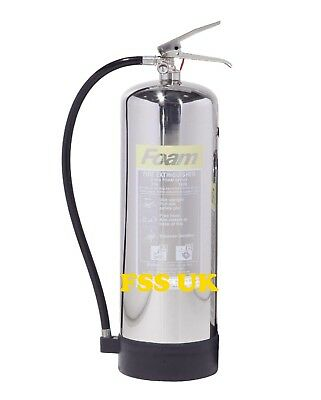 Premium Fss Uk 6 Litre Foam (Afff) Chrome Fire Extinguisher. Free Delivery