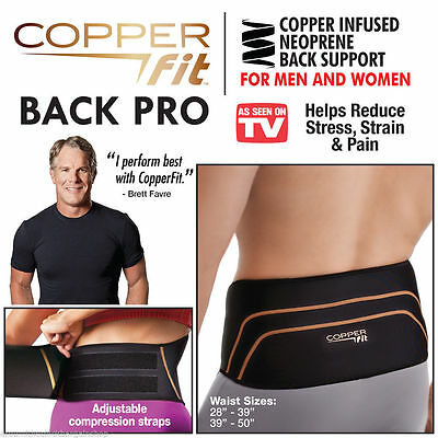 Copper Fit Back Pro Lower Back Support Lumbar Compression Belt Velcro Closure