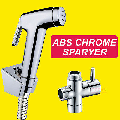 OZ Luxury Douche Bidet Toilet Spray Jet Hand Held Shower Head Shattaf Kit Chrome