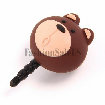 Cartoon Silicon Bear Anti Dust Plug Charm Ear Jack For iPhone Android Devices
