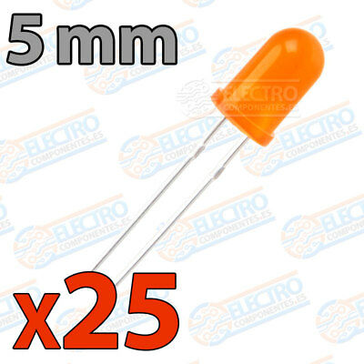 25x LED 5mm NARANJA DIFUSO 20mA diodo diffuse diode orange