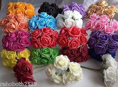 1 Large Bunch Of Artificial Foam Roses Wedding Flowers Craft Bouquet Decor
