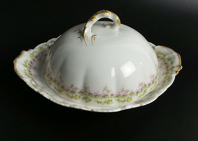 Theodore Haviland Limoges France 3 Piece Butter Dish 1895 Pink Roses