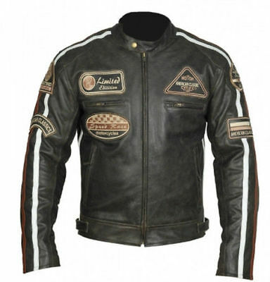 Classic Diamond Motorcycle Biker Brown Distressed Vintage Leather Jacket Armour.