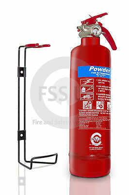 Offer!!! 1Kg Abc Powder Fire Extinguisher Home Office Car Kitchen + Wall Bracket