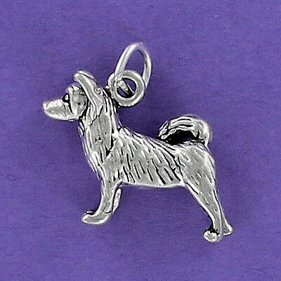 Akita Dog Charm Sterling Silver 925 for Bracelet Japanese Husky Curled Tail NEW