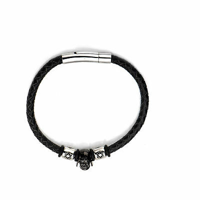 Star Wars Darth Vader Stainless Steel Bead Braided Leather Cord Bracelet