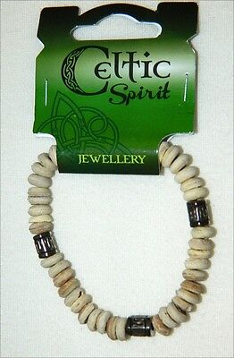 Wooden Beaded Irish Bracelet Celtic Spirit Cream Stretchable 8060W