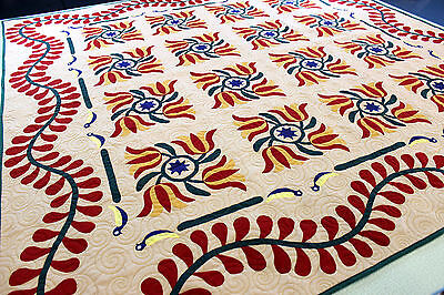 Incredible quality Hand Applique Tulip Quilt with vine borders Finished QUILT