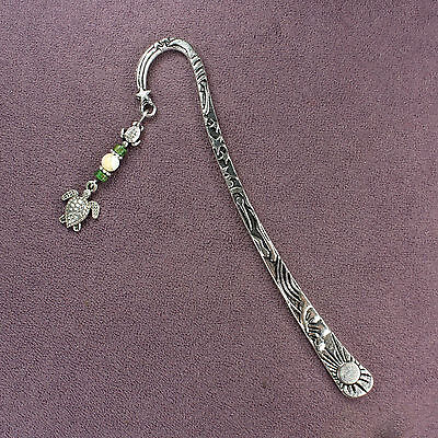 SEA TURTLE TOTEM BOOKMARK Charm Silver Green Seashells Stars Marine Ocean Animal