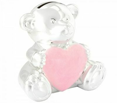 Silver Plated Pink Teddy Shape Money Box