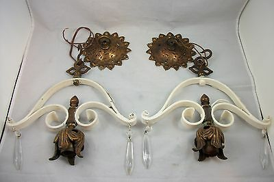 2 Matching Antique Spanish Revival Ceiling Light Fixture VTG Art Deco Chandelier • CAD $474.32